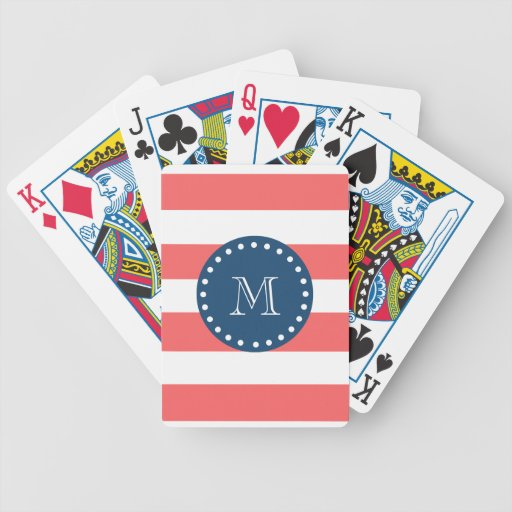 Coral White Stripes Pattern, Navy Blue Monogram Deck Of Cards
