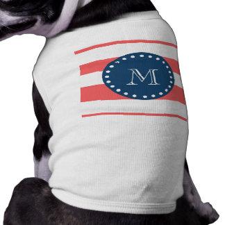 Coral White Stripes Pattern, Navy Blue Monogram Sleeveless Dog Shirt