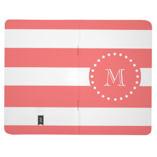Coral White Stripes Pattern, Your Monogram Journal