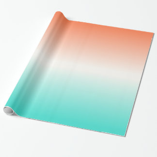 Coral White Turquoise Ombre Wrapping Paper
