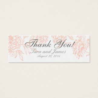 Coral White Vintage Floral Wedding Favor Tags