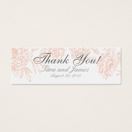 Coral White Vintage Floral Wedding Favour Tags