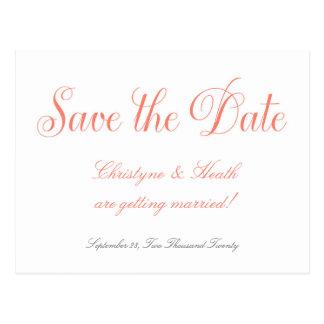 Coral & White Wedding Elegant Save Date Postcard