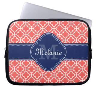 Coral Wht Moroccan Pattern Navy Monogram Laptop Sleeve