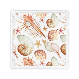Coral With Shells And Crabs Pattern