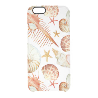 Coral With Shells And Crabs Pattern Clear iPhone 6/6S Case