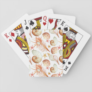 Coral With Shells And Crabs Pattern Playing Cards