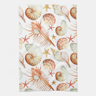Coral With Shells And Crabs Pattern Tea Towel