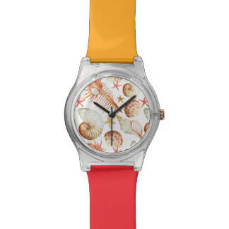 Coral With Shells And Crabs Pattern Watches