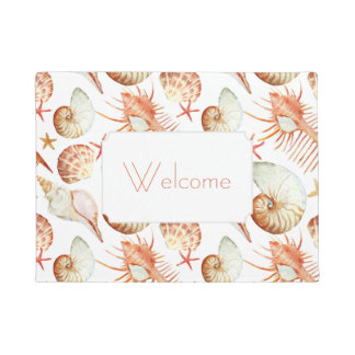 Coral With Shells & Crabs Pattern | Add Your Text Doormat