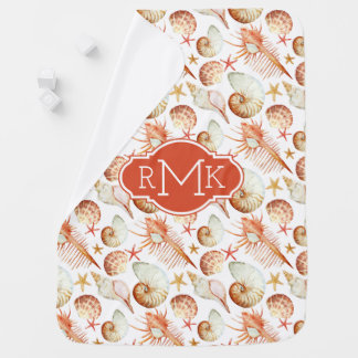 Coral With Shells & Crabs Pattern | Monogram Baby Blanket