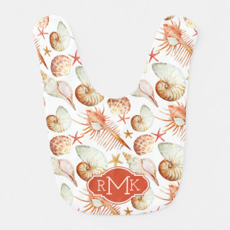Coral With Shells & Crabs Pattern | Monogram Bib
