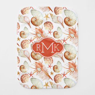 Coral With Shells & Crabs Pattern | Monogram Burp Cloth