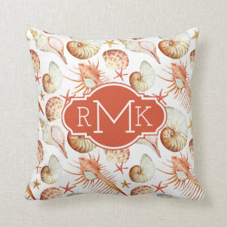 Coral With Shells & Crabs Pattern | Monogram Cushion