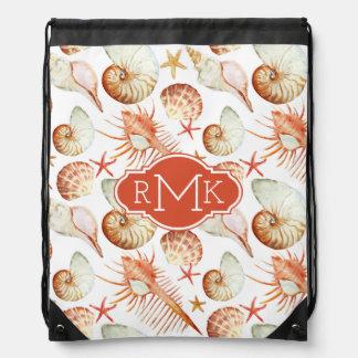 Coral With Shells & Crabs Pattern | Monogram Drawstring Bag
