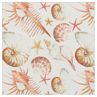 Coral With Shells & Crabs Pattern   Monogram Fabric