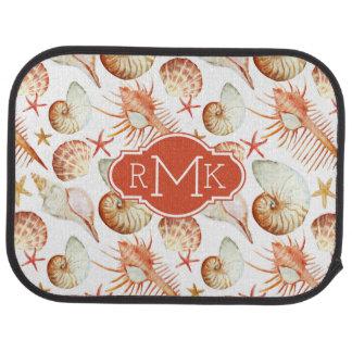 Coral With Shells & Crabs Pattern | Monogram Floor Mat