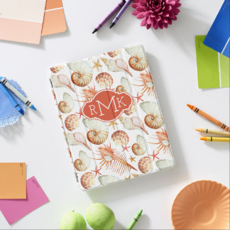 Coral With Shells & Crabs Pattern | Monogram iPad Cover