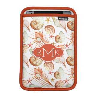 Coral With Shells & Crabs Pattern | Monogram iPad Mini Sleeve