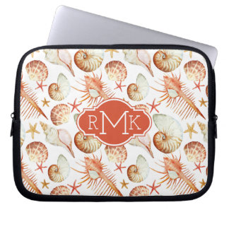 Coral With Shells & Crabs Pattern | Monogram Laptop Sleeve