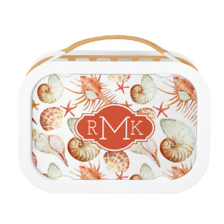 Coral With Shells & Crabs Pattern | Monogram Lunch Box