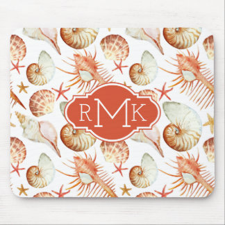 Coral With Shells & Crabs Pattern | Monogram Mouse Mat