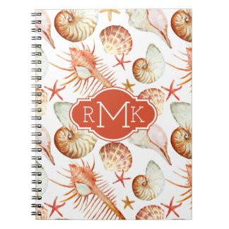 Coral With Shells & Crabs Pattern | Monogram Notebook