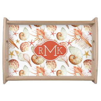 Coral With Shells & Crabs Pattern | Monogram Serving Tray