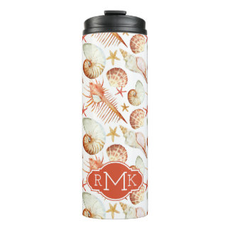 Coral With Shells & Crabs Pattern | Monogram Thermal Tumbler