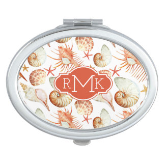 Coral With Shells & Crabs Pattern | Monogram Travel Mirror
