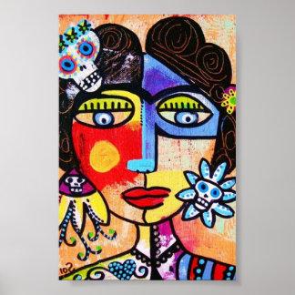 Coral Woman Sugar Skull Poster