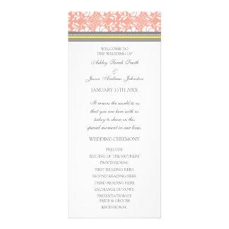 Coral Yellow Gray Damask Wedding Program Rack Card
