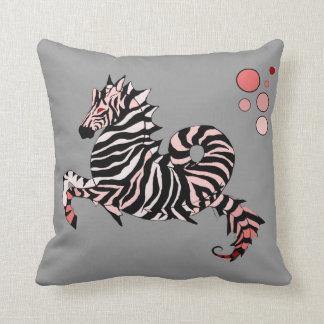 Coral Zebra Seahorse Throw Pillow