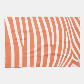 Coral Zebra Stripes Tea Towel