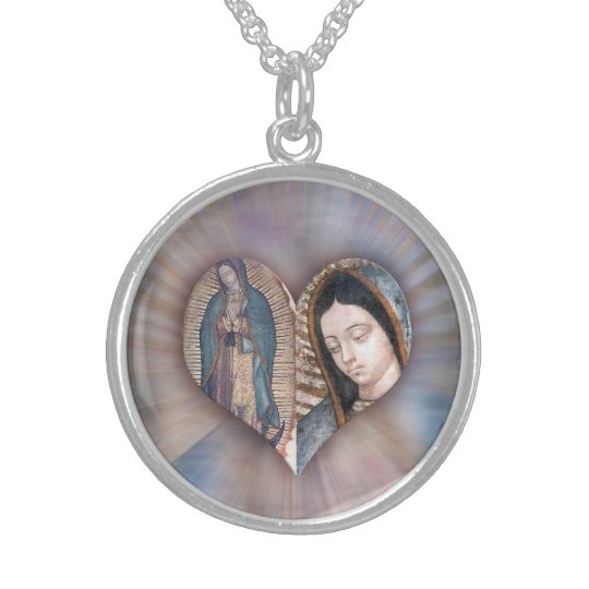 CORAZON DE LA VIRGEN DE GUADALUPE BY DIVINA STERLING SILVER NECKLACE