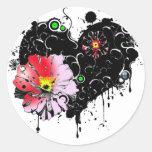 corazon floral pegatina