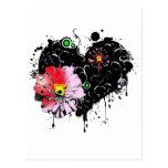 corazon floral postal