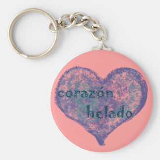 Corazon Helado Basic Round Button Key Ring