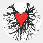 corazon raices etiquetas redondas