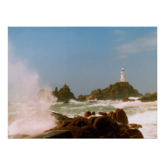 Corbiere Lighthouse in a winter storm Poster