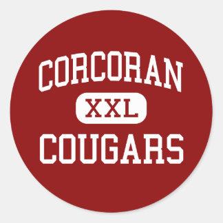 Corcoran - Cougars - High - Syracuse New York Classic Round Sticker