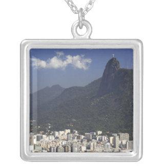 Corcovado overlooking Rio de Janeiro, Brazil Silver Plated Necklace