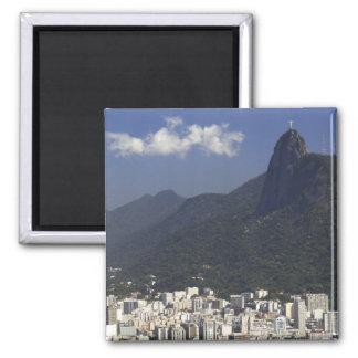 Corcovado overlooking Rio de Janeiro, Brazil Square Magnet