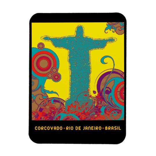 Corcovado tropical style rectangular photo magnet
