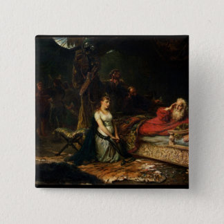 Cordelia and King Lear (oil on canvas) 15 Cm Square Badge
