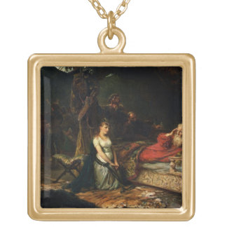 Cordelia and King Lear (oil on canvas) Square Pendant Necklace