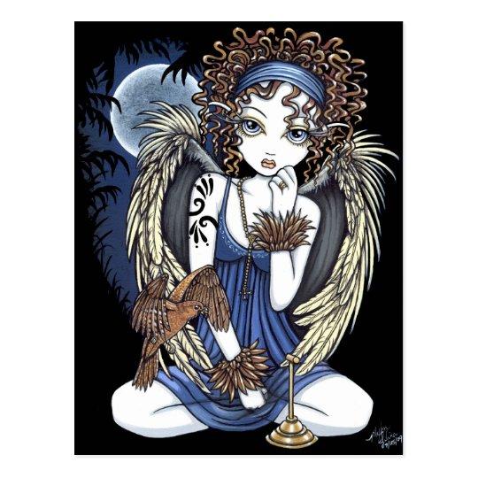 """Cordelia"" Gothic Moon Oil Bird Angel Art Postcard"