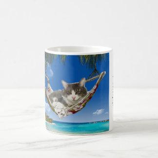 Corduroy in the Caribbean (Cat in hammock) Coffee Mug