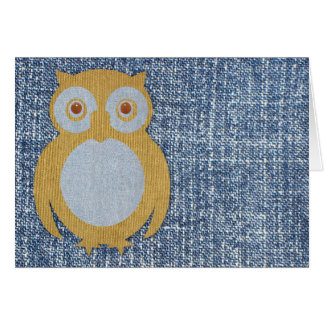 Corduroy Owl on Denim Card