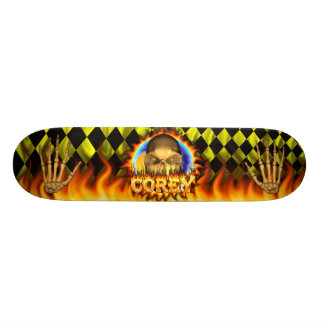 Corey skull real fire and flames skateboard design